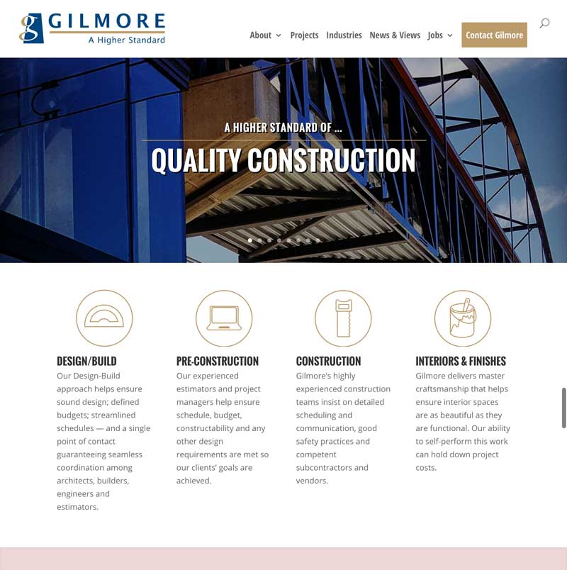 Gilmore Construction Company website