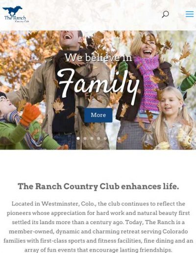 The Ranch Country Club website design in Westminster Colorado